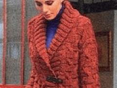 Женский кардиган вязание спицами из полушерстяной пряжи